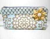 Gray Wristlet, Kanzashi Flower Brooch Wristlet,  Long Skinny Wristlet with Brooch, Wallflower, Modern Wristlet