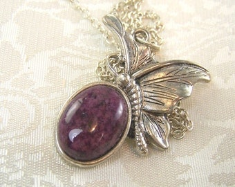 Eggplant purple Stone Cabochon and Butterfly Necklace