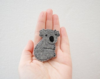 Koala brooch handmade from grey recycled wool