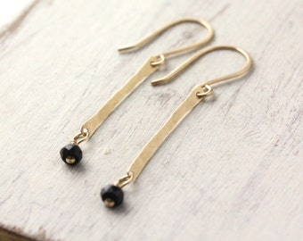 Hammered Gold Bar and Black Spinel Earrings