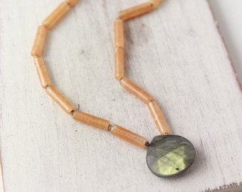 Peach Agate and Labradorite Knotted Necklace