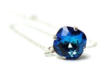 Deep Teal Blue Crystal Necklace Classic Sparkling Solitaire Swarovski Sterling Delicate Diamond Drop Simple Teardrop Bermuda Tropical Island