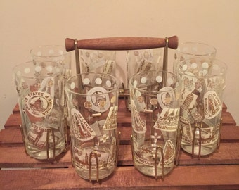 Vintage world traveler glasses with caddy set