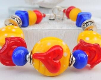PLAYFUL FUN Handmade Lampwork Bead Bracelet