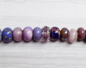Shades of purple Lampwork rondelle set