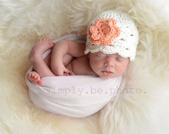 Baby Newborn Hat, Crochet Newborn Hat, Baby Girl Hat, Crochet Baby Hat, Newborn Beanie, White, Newborn Prop, Baby Girl Beanie