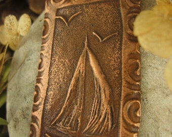 Come Sail Away Pendant in Copper, Sailboat Jewelry, Sea Ocean Lake, Irish Celtic Jewelry, Necklace,
