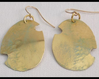 BRONZE CUTOUT - Handforged Hammered & Gilded Bronze Statement Earrings