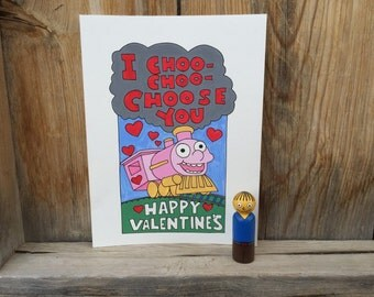 "I ""I Choo Choo Choose You"" Valentine's Day Print and Ralph peg doll, PegBuddies, The Simpsons, Valentine's Day gift"