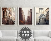 SALE New York Photography Collection, Gallery Wall Art Prints, New York Prints, NYC Art, Urban Decor, Chrysler Building Brooklyn Bridge