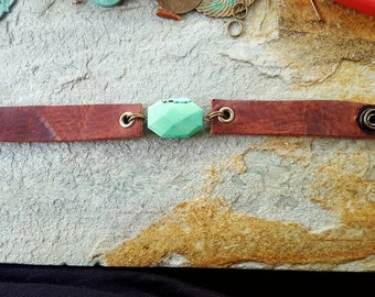 Leather and Green moss opal bracelet with antiqued brass