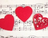 Set of 30 Red Paper Heart Die Cuts, Paper Embellishment, Valentine Embellishment, Heart Tags, Scrapbook Card Making Journal, Embossed Heart