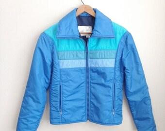 sale 80s vintage mens ski coat / blue and teal / stripes / Swing West / Classic ski jacket / turquoise aqua powder blue