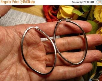 SALE TODAY Huge Vintage Sterling Silver Elongated Twist Hoop Pierced Earrings 2 Inches