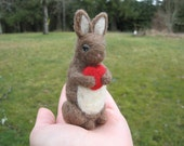 Needle Felted Bunny With Heart