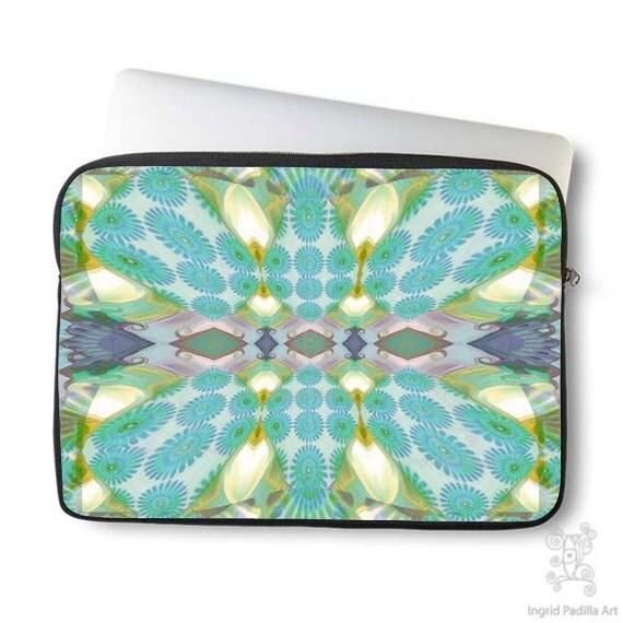 Boho Whimsy Daisy, Laptop Sleeve, Bohemian, Laptop case, Laptop Cover, Turquoise blue, Neoprene, Macbook case, Ingrid Padilla, Abstract, Art