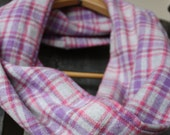 Gray, Pink and Purple Plaid Flannel Infinity Scarf
