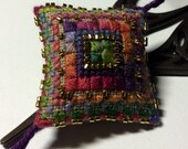 Mexican Dream Scissor Fob Ornament Pin Cushion Completed Cross Stitch Ornament 24K