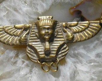 Vintage brass Egyptian Revival Pharoah necklace centerpiece..Art Deco fun