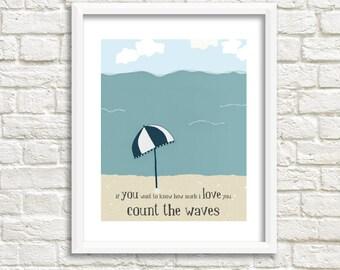 beach print, ocean artwork, inspirational quote, illustration prints, blue artwork, water print, bathroom art, beach house - My Love