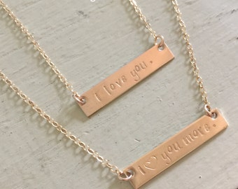 Mother daughter gold filled necklace set-stamped mom and daughter necklaces-mothers day gift-gift for mom-mother daughter bar necklaces