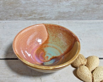 Raindrop Pot, Tiny Stoneware Bowl, Brown Green Burnt Orange, Landscape, Handmade Stoneware, Miniature Offering Ritual Altar,Ready to Ship