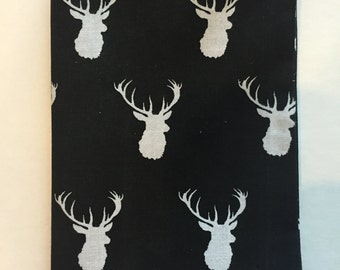 Paperback Book Cover, Fabric Book Cover for Paperback Book, Deer Head Fabric, White Deer Heads on Black Background, Standard paperback book