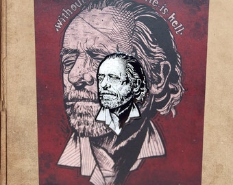"Charles Bukowski Portrait Hard Enamel Pin 1.5"" on backing card - without literature life is hell"