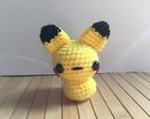 Pikachu Moon Bun - Amigurumi Bunny Rabbit Pokemon Doll with Keychain or Ornament Options