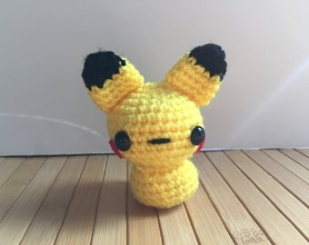 Pikachu Moon Bun - Amigurumi Bunny Rabbit Pokemon Doll with Keychain or Ornament Options