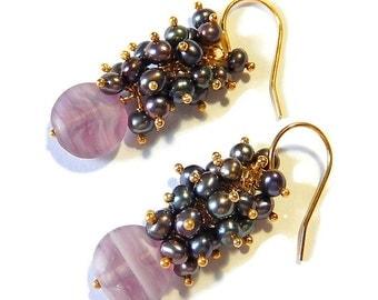 Gold Pearl Earrings, Charcoal Clusters, Purple Glass Drops, Oil Slick Vermeil Dangles