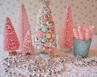 Shabby Bottle Brush Tree - Pink and Aqua, PASTEL