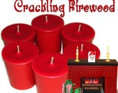 6 Crackling Firewood Votive Candles Christmas Fireplace Scent