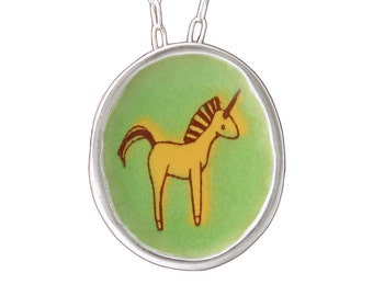 Unicorn Necklace - Sterling Silver and Vitreous Enamel Unicorn Pendant