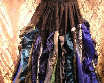 "Patchwork ""Black Ice"" Full-Length Verticle Ruffle Scrap Skirt"