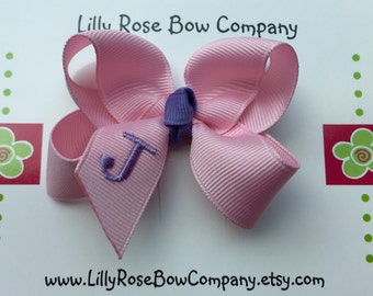 Custom  Monogrammed Hair Bow - Pansy/Toddler Size