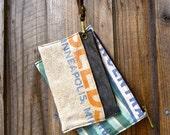 Wristlet Wallets - Set of 2    - Small Leather Messenger - Americana Canvas Leather Handbag- vintage fabric.. Selina Vaughan