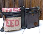 Red Rose - Hubbard Sunshine - Convertible Belt/Waist Bag Vintage seed sack W- Americana OOAK Canvas & Leather Bag Selina Vaughan Studios