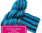 Inscrutable Mystery Watercolor Stripes, Self Striping Hand Dyed Targhee Sock Yarn - Dyed to Order