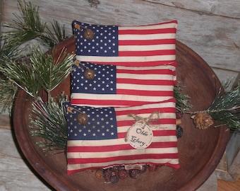 3  Primitive - Patriotic - Rustic - USA - July 4th Olde Glory - Americana - American - Flag - Bowl Fillers - Ornies - Tucks - Shelf Sitters