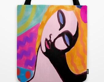 Original Abstract Art Tote Bag Shopping Bag My Funky Abstract Digital Painting