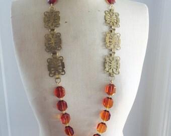 SALE Vintage statement Necklace, Recycled Vintage Belt, Amber