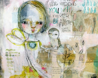 Never Alone - mixed media art print by Mindy Lacefield