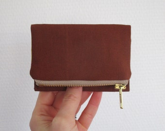 Rust Forester card wallet, small reddish brown canvas pocket size wallet, ready to ship