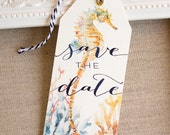 Seahorse Save the Date Tags - watercolor seashells coral - destination wedding - beach Wedding - nautical wedding- island wedding - tropical