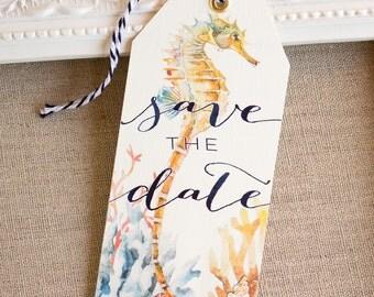 Seahorse Save the Date Tags - watercolor seashells coral - destination wedding - beach Wedding - nautical wedding- island wedding - tropical