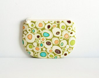 Coin Purse, Small Zipper Pouch, Women and Teens, Zip Wallet, Gift For Her, Pebbles in Lime