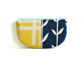 Small Zipper Pouch, Coin Purse, Change Pouch, Women and Teens, Mini Wallet, Blue and Yellow