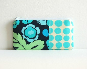 Zipper Pouch, Coin Purse, Women and Teens, Blue Bouquet, Amy Butler Daisy Chain and Love
