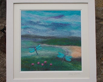 Sea Thrift and Dragonflies  Felt Picture